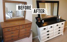 refurbished furniture DIY Black and White Dresser Makeover Diy Dresser Makeover, Bedroom Furniture Makeover, Painted Bedroom Furniture, Refurbished Furniture, Repurposed Furniture, Dresser Makeovers, Dresser Ideas, Furniture Ideas, Dresser Furniture