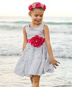Mia Belle Baby White & Black Polka Dot Flower Tiered Dress//