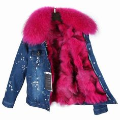 Real Fox Fur Lining Denim Jacket Coat Women Winter Coat Jacket Denim, 39 / S Denim Coat, Winter Jackets Women, Coats For Women, Fur Collar Jacket, Madrid, Love Clothing, Fur Fashion, Denim Fashion, Stylish Clothes