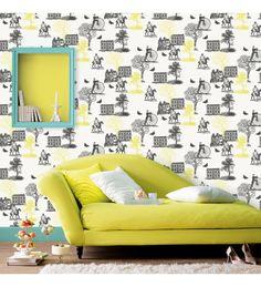 Papel Pintado Caselio Black And White  61057002. Papeles pintados Toile de Jouy con tonos amarillos. Fantásticos para decorar las paredes del salón comedor con elegancia. ¡¡PROMOCIÓN ESPECIAL 15% DE DESCUENTO + 5 EUROS DE DESCUENTO POR SER NUEVO CLIENTE!! ¡¡Añádenos a las redes sociales y acumula descuentos de 1 EURO sólo por hacerte seguidor!!!