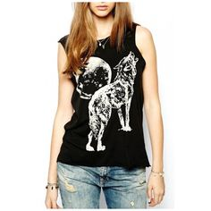 Black Sleeveless Moon and Wolf Print Tank (€20) ❤ liked on Polyvore featuring tops, cotton camisole tops, cami tank, sleeveless tank tops, round top and sleeveless tops