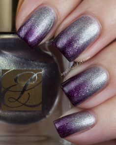 A Polish Addict.  Purple/silver ombre make-up-hair-and-nails