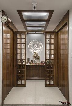 Amazing Praying Room Design Ideas To Bring Your Ramadan More Beautiful 30 Pooja Room Door Design, Home Room Design, Home Interior Design, Living Room Designs, Design Interiors, Temple Room, Temple Design For Home, Mandir Design, Architecture Design