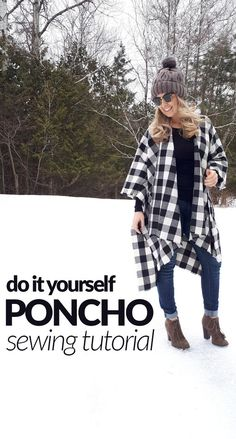 My current obsession = ponchos/capes. As promised, my first DIY sewing tutorial of 2018 is how to make one yourself! It's super easy and great for a beginner sewer! You can make one in abou… sewingtutorials Easy Sewing Projects, Sewing Projects For Beginners, Sewing Hacks, Sewing Tutorials, Sewing Tips, Sewing Ideas, Poncho Pattern Sewing, Sewing Patterns Free, Free Sewing