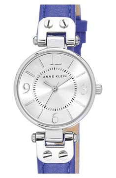 Anne Klein Round Leather Strap Watch, 26mm available at #Nordstrom  www.womenswatchhouse.com
