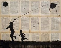 Silhouette of Boys with kite paper art