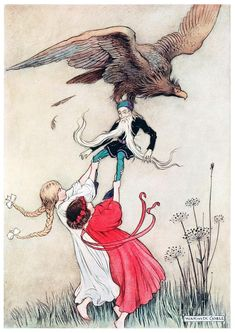 The compassionate children instantly seized hold of the little man. Warwick Goble Warwick goble, from The fairy book, by Dinah Craik, London, 1913. (Source: archive.org)