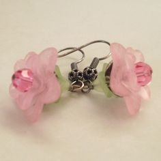 Pink lucite flower earrings, pink and green layered earrings, antiqued silver bead caps, Austrian crystal, lucite jewelry, pink jewelry