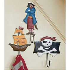 Pirate Wall Hooks - For the pirate themed kids bathroom