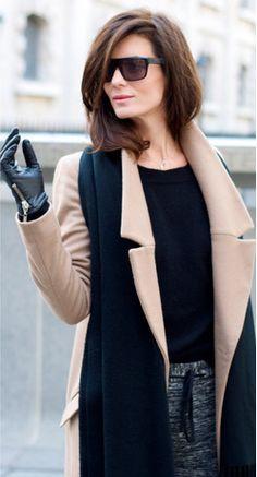 black leather gloves w/a camel coat
