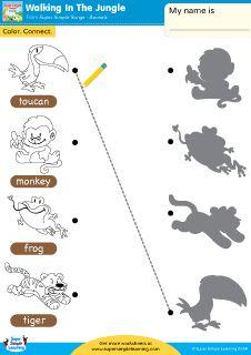"""Walking In The Jungle"" Animals Matching Worksheet from Super Simple Learning. #preK #Kindergarten #ESL"