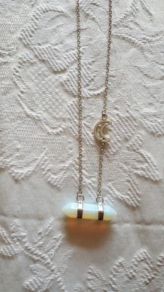 Gorgeous iridescent crystal on a chain with a moon :)