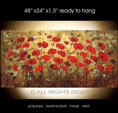 original painting red textured poppis from listed artist jolina anthony fast and free shipping on Etsy, $339.00