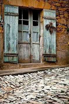 Old Weathered Shutters & Window...