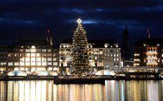 HAMBURG, GERMANY   A Christmas tree is illuminated on the Alster