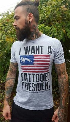 """James Ramsey wearing one of our favorite t-shirts, """"I Want A Tattooed President"""", by Steadfast Brand! Click HERE to see this men's shirt + more!"""