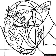 100 free coloring page of Wassily Kandinsky painting Black and
