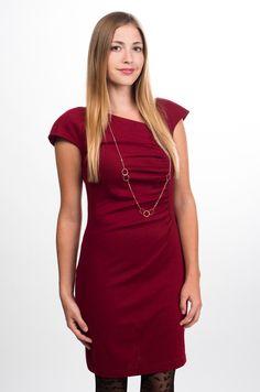 Burgundy Ox Blood Cap Sleeve Ruched Dress