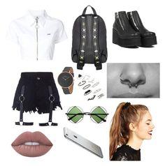 """Boredddd (Unif clothing)"" by weirdobby on Polyvore featuring moda, UNIF, Skagen, Retrò, Lime Crime, Topshop e ASOS"