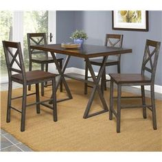 Crossing Five Piece Counter Height Dining Set by Largo - Riverview Galleries - Pub Table and Stool Set Durham, Chapel Hill, Raleigh Largo Furniture, Wolf Furniture, Fine Furniture, Dining Room Furniture, Pub Table And Stools, Table And Chair Sets, Counter Height Dining Sets, Nebraska Furniture Mart, House With Porch