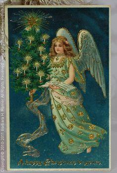 Christmas Angel bringing Christmas Tree, antique Postcard