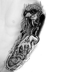 Tattoo Design Drawings, Tattoo Sleeve Designs, Tattoo Sketches, Sleeve Tattoos, Creepy Tattoos, Badass Tattoos, Upper Arm Tattoos, Arm Tattoos For Guys, Tatuaje Grim Reaper