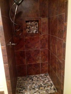 New shower with river rock