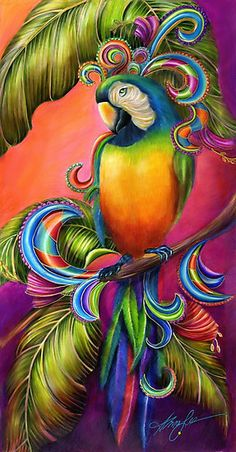 """I am so paisley pretty, and I know it!"" / Is there any thing more delightful than parrot fully arrayed in paisley. Beautiful alluring and sultry. This bird is quietly waiting in her tropical paradise just waiting to be discovered! / THE ORIGINAL is a Colored Pencil and marker Painting on MFD BOARD. Color pencils and markers are laid layer upon layer to create a translucent, luminous finish similar to airbrush paintings. The painting is set, and finished with ..."