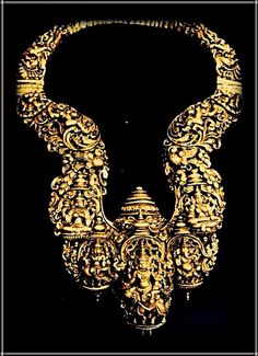 Temple jewellery wherein the nakshi work depicts gods and goddesses of India. From South India, Tamil Nadu. Description by Pinner Mahua Roy Chowdhury