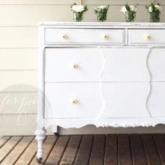 White dresser painted by Amanda of Ferpie and Fray