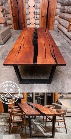 """Стол Река из слэбов дерева и акрила черного цвета. Стол в стиле """"Река"""" изготовлен из дерева Граб с очень красивым рисунком. Покрытие - масло-воск. Подстолье - метал в порошковой матовой краске. Красивый обеденный стол от настоящих профессионалов. Размер стола: длина 240, ширина 100, высота 75 см"""