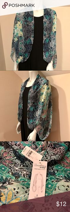 Convertible kimono and scarf NWT This looks great as a top to layer or where as a scarf . Beautiful pattern so much fun! 😘 NWT great colors from New York & Company New York & Company Accessories Scarves & Wraps