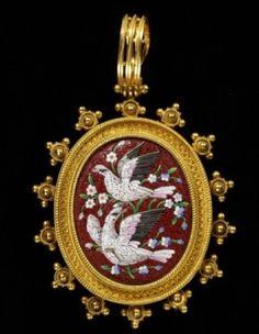 Micromosaic Micro Mosaic Birds Doves Pendant...