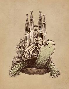 Slow Architecture, an art print by Enkel Dika Turtle Sketch, Kunst Portfolio, Man Vs Nature, Art Alevel, Ap Studio Art, Creature Drawings, Nature Drawing, A Level Art, Ap Art