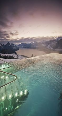 I would love to just sink in to this pool.Infinity pool at Hotel Villa Honegg, Switzerland. Places Around The World, Oh The Places You'll Go, Places To Travel, Places To Visit, Travel Destinations, Hotel Villa Honegg Switzerland, Switzerland Hotels, Swiss Switzerland, Lucerne Switzerland