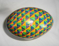Modern Pysanky Goose Egg in Royal Colors by JustCindyArt on Etsy