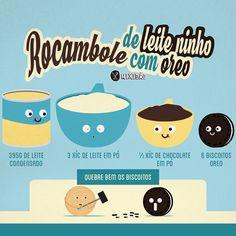 Infográfico receita de Rocambole de Leite Ninho com Oreo, uma receita deliciosa, para fazer na páscoa é muito fácil de preparar, só precisa de 4 ingredientes: leite Ninho, leite condensado, chocolate em pó e biscoito Oreo