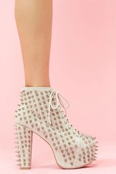 Lita Spike Platform Boot - Bone Suede  $265.00