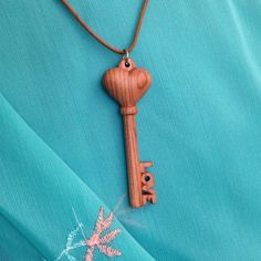 "Hand Carved Hardwood Apricot Tree ""Key From Heart"" Pendant - wood pendant, natural jewelry, key pendant, necklace pendant, heart pendant by VanDenArt on Etsy"