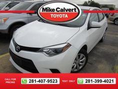 2014 Toyota Corolla LE 38k miles $15,980 38759 miles 281-407-9523  #Toyota #Corolla #used #cars #MikeCalvertToyota #Houston #TX #tapcars