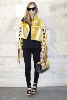 Chiara Ferragni from theblondesalad.com wearing the new Just Cavalli gold leather jacket from the FW 14-15 collection at the #RobertoCavalli FW 14-15 show