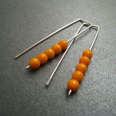 Sterling Silver Earrings - Stacked Tangerine Orange Glass Beads - Simple Modern Minimal Beaded Earrings. $19.00, via Etsy.