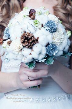 Зимний букет невесты. Флорист Пашкова Ольга #букет #зимний букет #свадебныйбукет #букетневесты  #букетсхлопком #хлопок