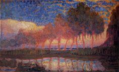 Trees Along a River- Piet Mondrian, 1908, oil on canvas