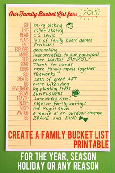 Use the word prompts on this handy printable Bucket List to decide as a family how you'll have fun together this year, this season, on holiday or for any reason.