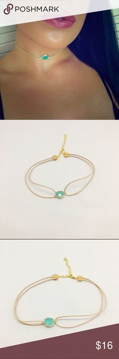 """Aurora Choker Beautiful aqua stone set in gold material with a nude necklace. Measures 11""""-14"""" beautiful to layer or wear alone. NOT FREE PEOLE, Price firm unless bundled. Free People Jewelry Necklaces"""