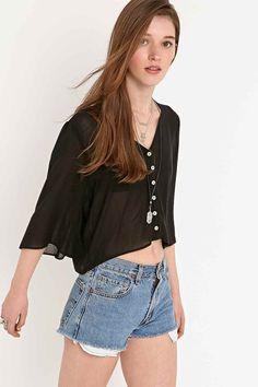 Pins & Needles Angel Sleeve Blouse in Black