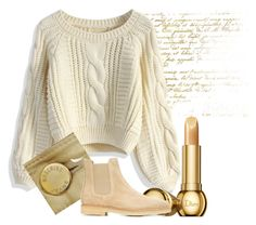 """""""Neutral Colors."""" by nurinur ❤ liked on Polyvore featuring Chicwish, Moschino, Christian Dior and Common Projects"""