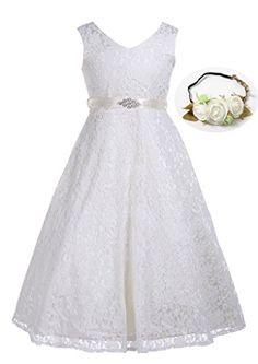 da4f86cca313c Bow Dream Lovely Lace V-Neck Flower Girl Dress Ivory Crea... https