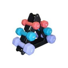 "Multi-colored neoprene dumbbell set with three-, five-, and eight-pound weights. Rack included.   Product: (2) 3 lb Dumbbells (2) 5 lb Dumbbells (2) 8 lb Dumbbells1 Storage rackConstruction Material: NeopreneColor: MultiDimensions: 14"" H x 14"" W (rack)"